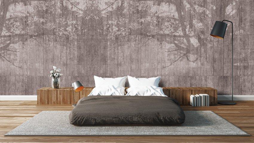 Arredamento con parete effetto cemento 100casa - Tappezzeria camera da letto ...